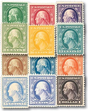 Complete Set, 1908-09 Regular Issues, Set of 12 Stamps