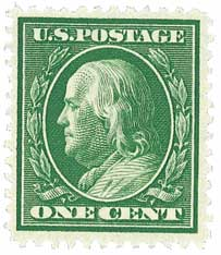 1908 1c Franklin, double line watermark