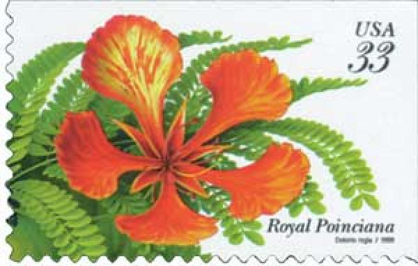 1999 33c Tropical Flowers: Royal Poinciana
