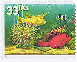 1999 33c Aquarium Fish: Shrimp with Yellow and Red Fish