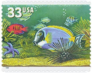 1999 33c Aquarium Fish: Red and Blue Fish