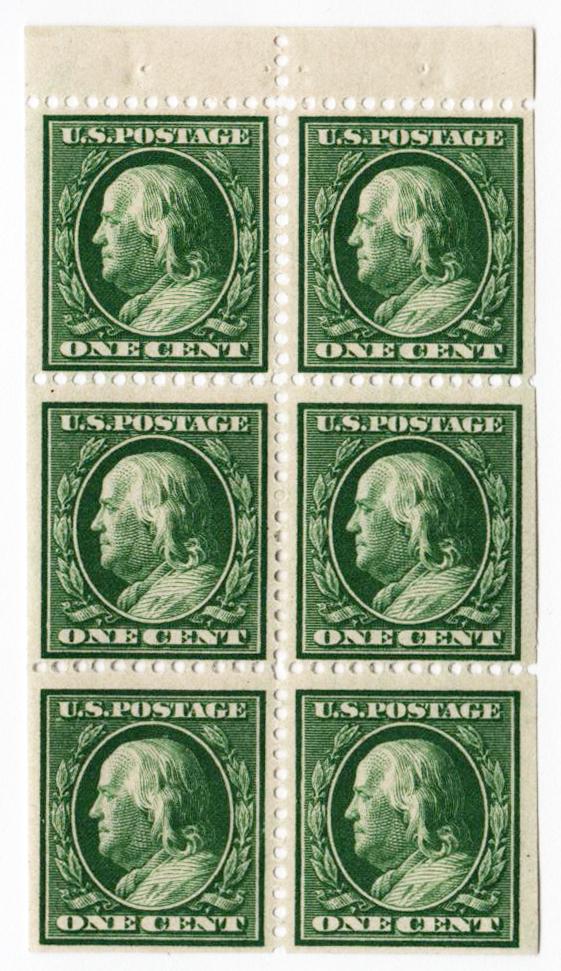 1908 1c Franklin, DL Wmrk, bklt pane