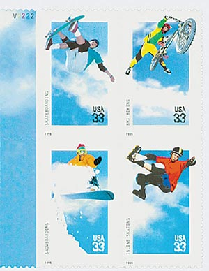 1999 33c Xtreme Sports, block of 4 stamps