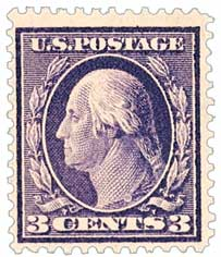 1908 3c Washington, violet, double line watermark