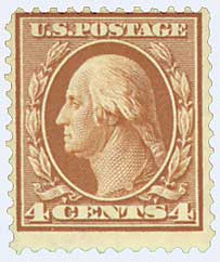 1908 4c Washington, orange brown, double line wmrk.