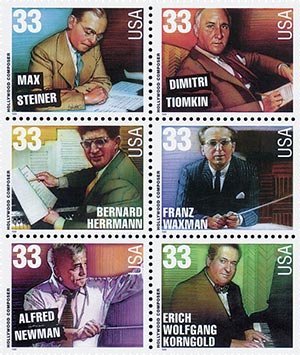 1999 33c Hollywood Composers, block of 6 stamps