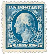 1908 5c Washington, blue, double line watermark