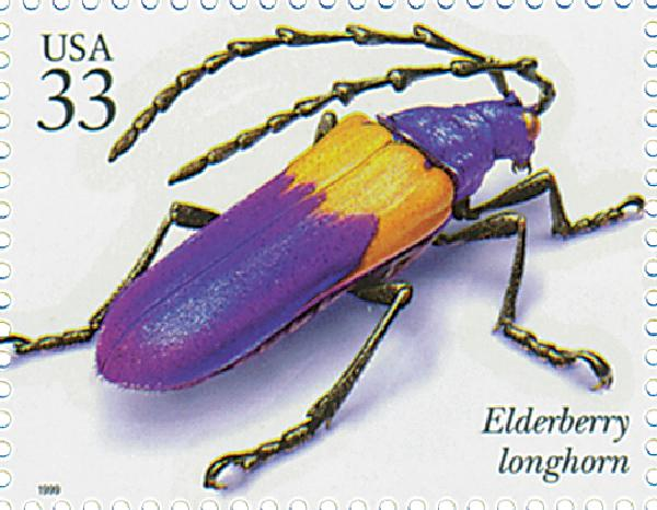 1999 33c Insects and Spiders: Elderberry Longhorn