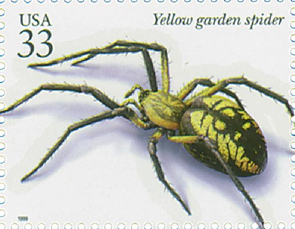 1999 33c Insects and Spiders: Yellow Garden Spider
