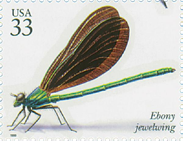 1999 33c Insects and Spiders: Ebony Jewelwing