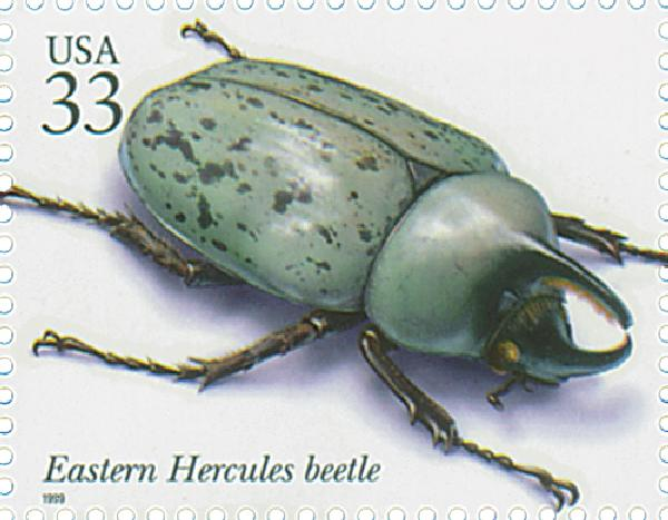 1999 33c Insects and Spiders: Eastern Hercules Beetle