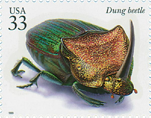 1999 33c Insects and Spiders: Dung Beetle