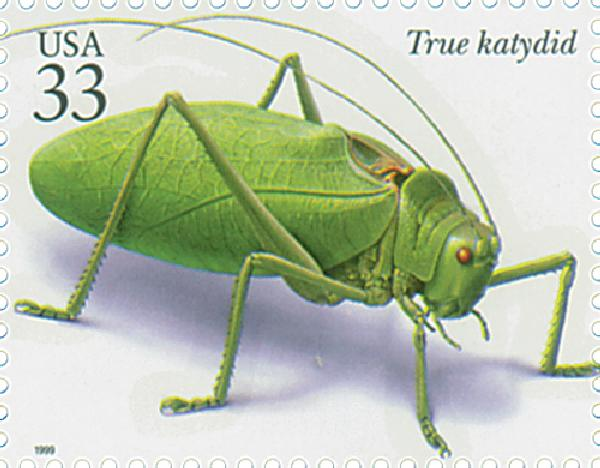 1999 33c Insects and Spiders: True Katydid