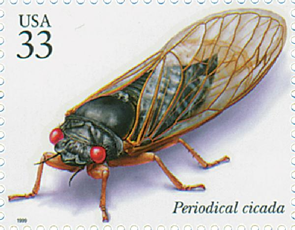 1999 33c Insects and Spiders: Perodical Cicada