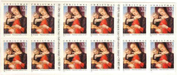 1999 33c Madonna and Child pane of 20