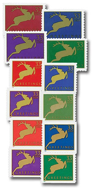 1999 33c Contemporary Christmas: Reindeer, set of 12 stamps