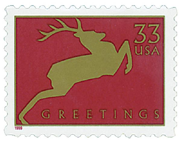 1999 33c Contemporary Christmas: Reindeer, red