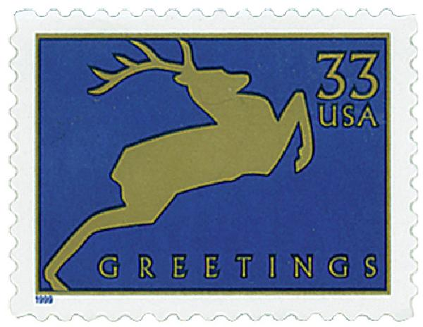 1999 33c Contemporary Christmas: Reindeer, blue