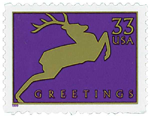 1999 33c Contemporary Christmas: Reindeer, purple