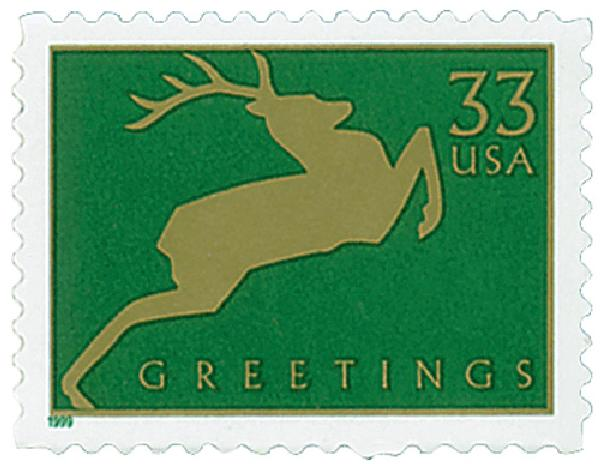 1999 33c Contemporary Christmas: Reindeer, green
