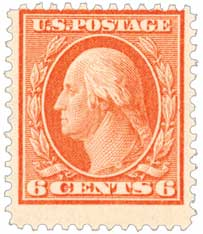 1909 6c Washington, red orange, double line watermark