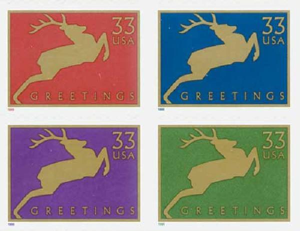 1999 33c Reindeer - Wide Frame Design (Banknote Corp.)