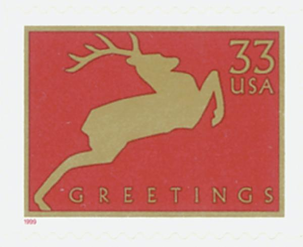 1999 33c Contemporary Christmas: Reindeer, red, 11.25 perf