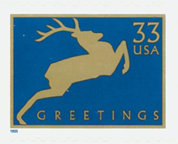 1999 33c Contemporary Christmas: Reindeer, blue, 11.25 perf