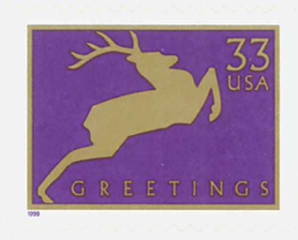 1999 33c Contemporary Christmas: Reindeer, purple, 11.25 perf