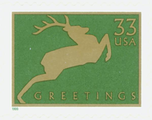 1999 33c Contemporary Christmas: Reindeer, green, 11.25 perf