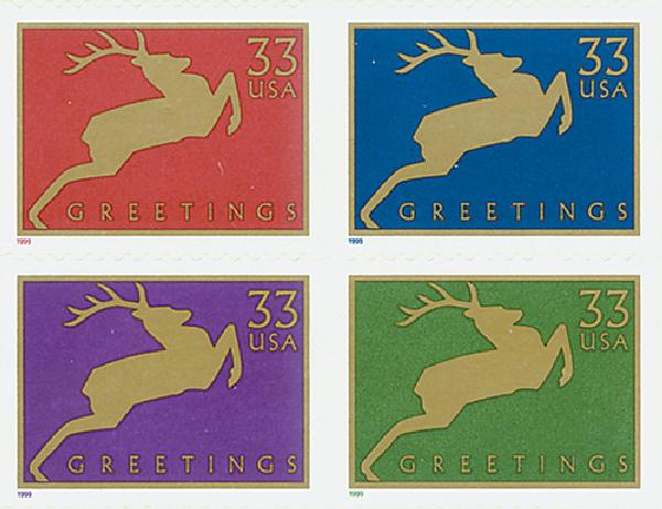 1999 33c Contemporary Christmas: Reindeer, block of 4 stamps