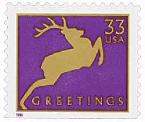 1999 33c Contemporary Christmas: Reindeer, purple, 11.5 x 11.25 perf