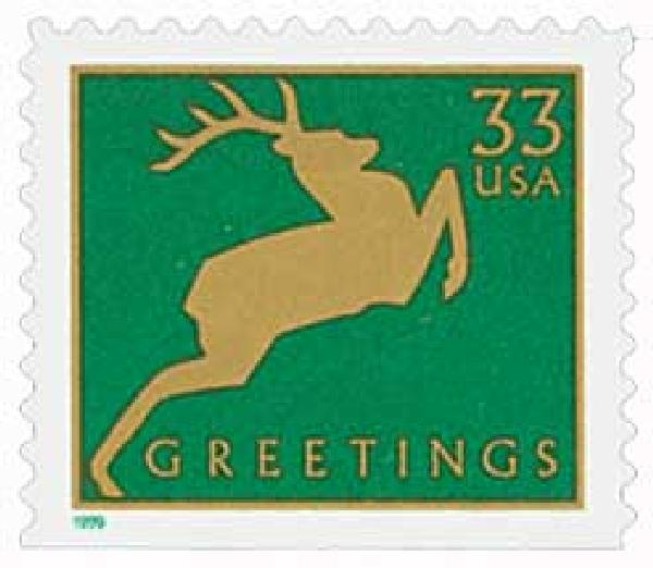 1999 33c Contemporary Christmas: Reindeer, green, 11.5 x 11.25 perf