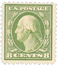 1908 8c Washington, olive green, double line watermark