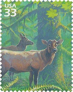 2000 33c Roosevelt elk, s/a