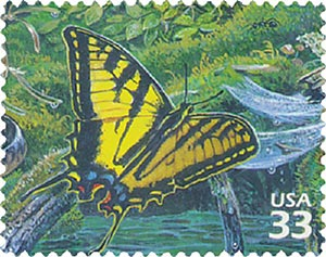 2000 33c Pacific Coast Rain Forest: Western Tiger Swallowtail