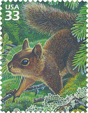 2000 33c Pacific Coast Rain Forest: Douglas Squirrel