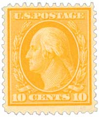1909 10c Washington, yellow, double line watermark