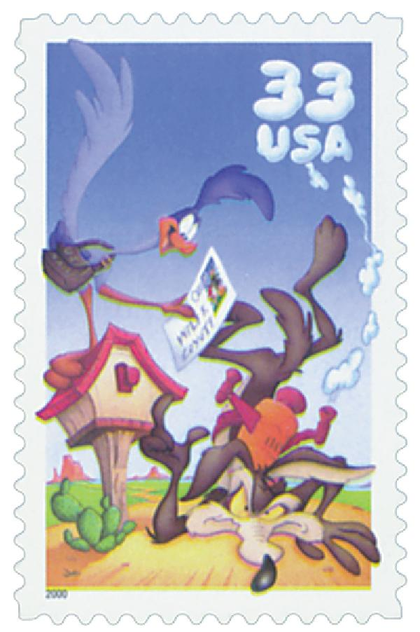 2000 33c Wile E. Coyote and Roadrunner, single from pane of 10