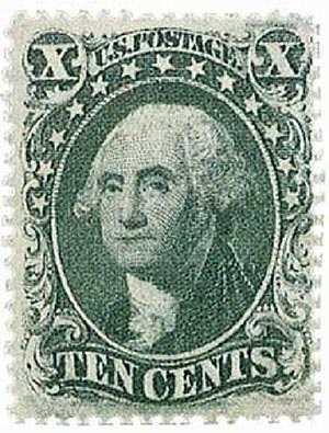 1858 10c Washington, green, type IV
