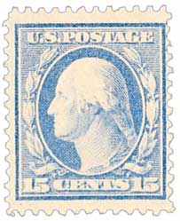 1909 15c Washington, double line watermark, perf 12