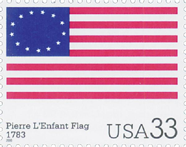 2000 33c The Stars and Stripes: Pierre LEnfant Flag