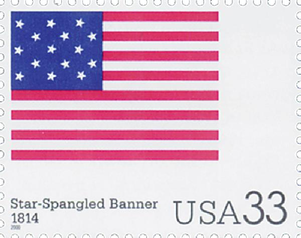 2000 33c The Stars and Stripes: Star-Spangled Banner