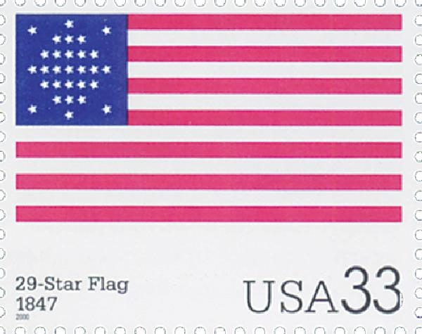 2000 33c The Stars and Stripes: 29-Star Flag