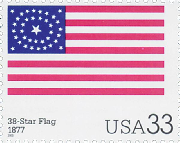 2000 33c The Stars and Stripes: 38-Star Flag