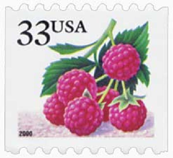 2000 33c Raspberries, s/a