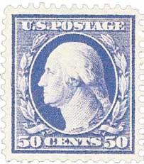 1909 50c Washington, violet, double line watermark