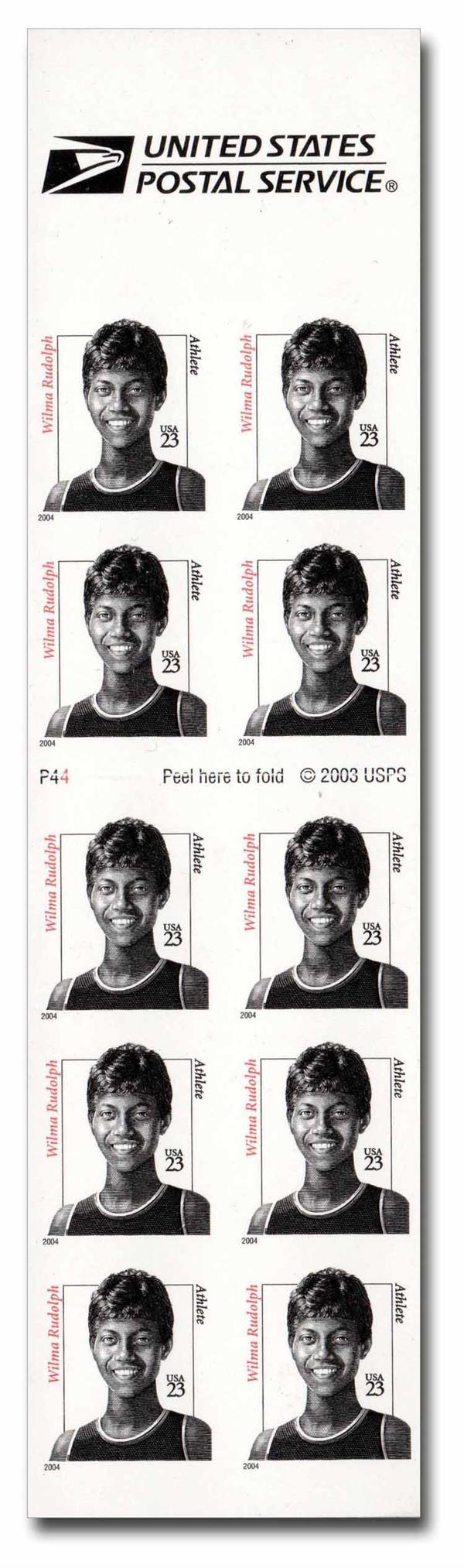 2004 23c Wilma Rudolph, booklet pane 10