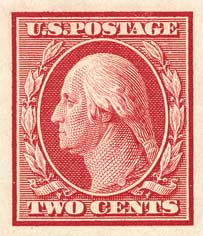 1908 2c Washington, carmine, double line watermark, imperforate