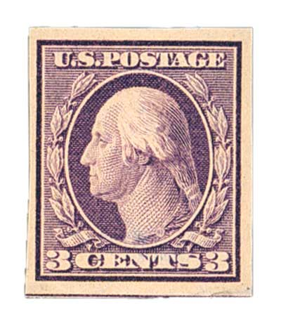1909 3c Washington, deep violet, double line watermark, imperforate